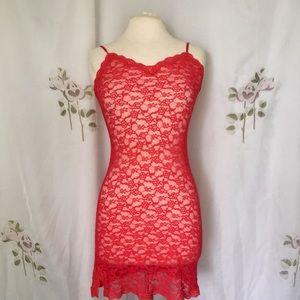Victoria's Secret Red Lace Slip / Size Medium